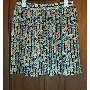 Jcrew Pleated Floral Mini Skirt